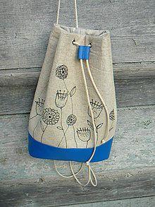 Batohy - Režný pytel s květinami - 5119032_