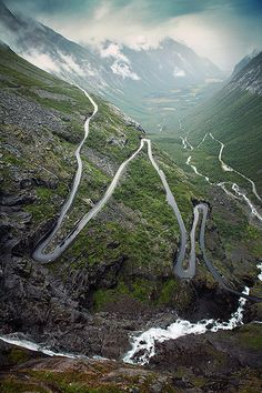 The famous mountain road with its narrow curves and sharp hairpin bends.  - Trollstiegen
