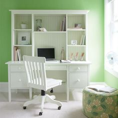 Big Cay Desk with Library Hutch in Choice of Color from PoshTots