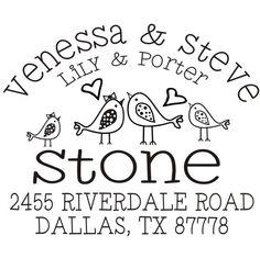 whimsical lovebird custom return address rubber by stampoutonline, $35.00