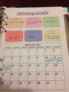 Organised Lifestyle: 2014 Goals layout for my Filofax