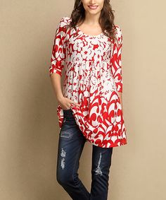 Another great find on #zulily! Red & White Floral Empire Waist Tunic - Plus #zulilyfinds