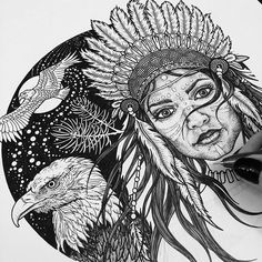 Happy Valentine's! Hope you're all having all kinds of love in your day!  This is a drawing that I'm working on atm.. #myartwork #pendrawing #ink #drawing #beccawho #artist #native #american #indian #female #eagle #totem #spiritual #illustration #sketchbook #linework #blackwork #nature #originalart #feathers #art #creative #copic #happy #love #print #design #artwork #woman #wildlife