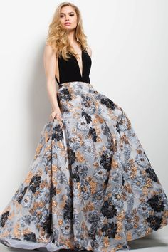 Jovani - 58207 Plunging V-Neckline Printed Ballgown. Ball gown fashions. I'm an affiliate marketer. When you click on a link or buy from the retailer, I earn a commission.