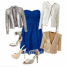 Vestido azul que zapatos combinan