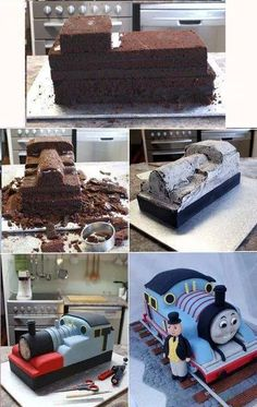 Thomas The Train Cake Tutorial 3d Cakes, Fondant Cakes, Cupcake Cakes, Cake Fondant, Fondant Figures, Tank Cake, Thomas Cakes, Cake Structure, Sculpted Cakes