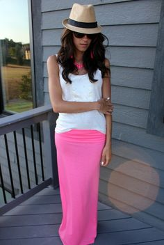 Pink maxi... love this .maxi skirt #kathyna257892 #style for women #womenfashionwww.2dayslook.com