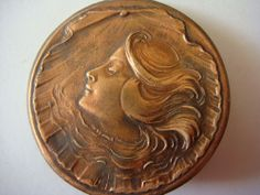 Antique or Vintage Cameo Button With a Woman in a Shell 1-3/16""