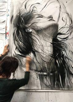Ewa Hauton black and white portrait Life Drawing, Painting & Drawing, Art Sketches, Art Drawings, Drawing Faces, Abstract Sketches, Pintura Graffiti, L'art Du Portrait, Arte Pop