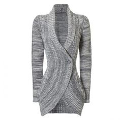 Stylish Shawl Collar Long Sleeve Women's Cardigan Gray