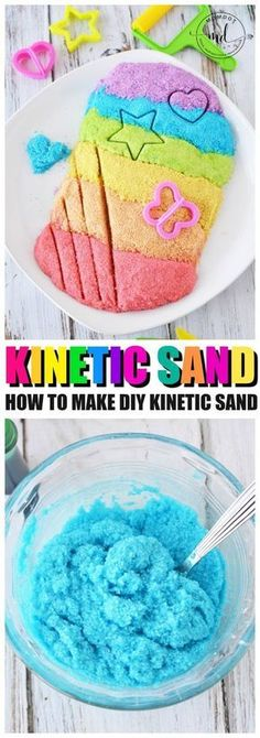 Kinetic Sand Recipe How to make Kinetic Sand is part of Make kinetic sand - Kinetic Sand Recipe, learn How to make Kinetic Sand, a copycat DIY kinetic sand recipe at home with cornstarch, soap and other household ingredients, moon sand Fun Crafts For Kids, Arts And Crafts Projects, Summer Crafts, Toddler Crafts, Crafts To Do, Diy For Kids, Activities For Kids, Diys For Summer, Dyi Projects For Kids