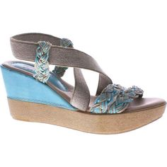 Azura Women's Rosemont Blue Leather Combo Sandals ($90) ❤ liked on Polyvore featuring shoes, sandals, braided leather sandals, blue sandals, wedge espadrilles, leather platform sandals and wedge sandals