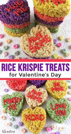 Rice Krispie Treats for Valentine's Day - Rice Krispie Treats for Valentine's Day – Using only a heart cookie cutter we transformed Rice - Valentines Day Cookies, Valentines Day Memes, Valentines Day For Him, Valentines Day Dinner, Valentines Day Activities, Rice Krispy Treats Recipe, Rice Krispie Treats, Rice Krispies, Valentine's Day Drinks