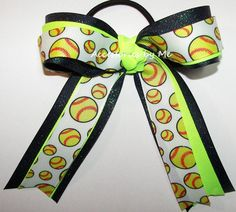 Items similar to Softball Hair Bow, Sparkly Ponytail Holder, Softball Neon Lime Navy Blue Glitter Bow, Glittery Navy Neon Lime Green Softball Bow, Bulk Bows on Etsy Softball Hair Bows, Softball Shirts, Girls Softball, Cheer Bows, Softball Cheers, Softball Stuff, Girls Basketball, Baseball Mom, Softball Crafts