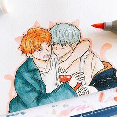 Yoonmin the cats ❤ ️❤ ️❤ warm hug again ❤ ️❤ for Yoonmin Fanart, Jimin Fanart, Kpop Fanart, Bts Drawings, Bts Chibi, Bts Fans, Disney Fan Art, Bts Photo, Bts Pictures