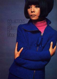 Hiroko Matsumoto wearing a jacket by Pierre Cardin for Vogue Paris. Photo by David Bailey.