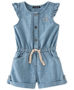 Calvin Klein Little Girls' Flutter-Sleeve Denim Romper Baby Outfits, Toddler Girl Outfits, Baby Girl Dresses, Baby Dress, Kids Outfits, Baby Frock Pattern, Frock Patterns, Dress Sewing Patterns, Denim Pinafore