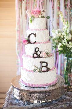 Shabby-chic initialed wedding cake | Brynne Owen Photography | Theknot.com