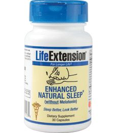 Enhanced Natural Sleep (without Melatonin) (Sleep Supplement by Life Extension). Sleep Better, Look Better. Promotes improved sleep quality*. Promotes a healthy response to stress*. Promotes healthy skin function and appearance*. Available at ProHealth.com ($15.00) #ProHealth