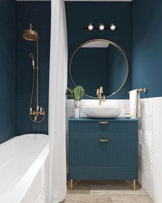Luxurious small bathroom idea with dark green, white and gold accents. - Wohnung Luxurious small bathroom idea with dark green, white and gold accents. Luxurious small bathroom idea with dark green, white and gold accents. Interior, House Interior, Bathroom Paint Color Schemes, Amazing Bathrooms, Bathroom Colors, Painting Bathroom, Residential Interior Design, Home Interior Design, Bathroom Design