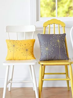 Embellish a pair of pillows with basic hand-embroidery stitches.