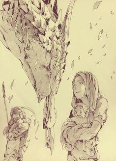 『I'm home』  「あなたには、辛い思いをさせてしまったわね」   その日、私が愛した人は帰って来なかった。   戦争は終わりを向かえ、英雄たちの帰還にお祭り騒ぎの街の片隅。彼の愛騎であった竜は、主を守れなかったと懺悔するように、静かに目を瞑っていた。嫌になるほど見覚えのあるボロボロのマフラーをその口にくわえて。  「ありがとう、夫を見送ってくれて。もう、大丈夫よ」   いつかはこんな日が来るのだろう、そう覚悟はしていた。それがほんの少し、人よりも早かっただけ。  亡骸は無い、けれど、あの人はちゃんとここに帰って来てくれたのだ。だから、最期だけでも、笑顔で。  「お帰りなさい、あなた」  ーーー歴史に名前を刻む事の無かった、一人の英雄の帰宅の話。  きみどり   #art #illustration #manga #anime #scenery #pixiv #dragon