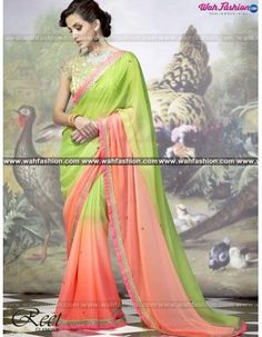 Get Fabulous style with this Stunning Parrot Green Designer Saree. This designer saree is embellished with embroidery work. The stylish blouse add charm & grace to this saree. Available with matching blouse. This saree will surely give you unique shade in special gathering.  For more details whatsapp us on +919915178418