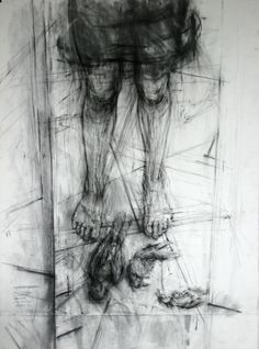 Ginny GRAYSON Self (with birds), 2009 Charcoal on paper 150 x 100 cm
