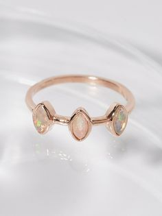 Triple Crown Opal Ring | American handmade in California, this delicate rhodium plated sterling silver or 14k yellow gold plated brass ring is bezel set with beautiful Ethiopian Opal stones.