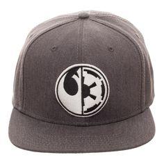 86767abb00b Star Wars — Embroidered Split Logo Rebel Imperial Flatbill Flex Cap -  Baseball Cap   Snapback