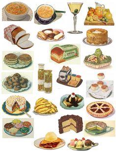 Free vintage collage sheets #vintage food# drink#