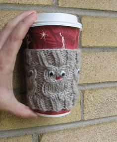 - if you're looking a knitting project for yourself or me. Owl coffee cup cozie, perfect handmade crochet/knitting gift for a coffee or tea enthusiast!or owls! Owl Knitting Pattern, Knitting Patterns Free, Free Knitting, Crochet Patterns, Free Pattern, Cable Knitting, Owl Patterns, Owl Coffee, Coffee Cup Cozy