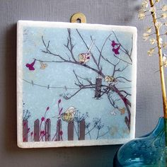 Birds At Feeder Large Marble Tile Wall Art