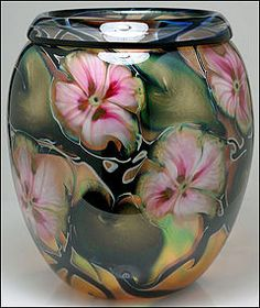 Huge 1999 Charles Lotton Multi-Flora Art Glass Vase - this would be a lovely bottle. Glass Vessel, Glass Ceramic, Fused Glass, Stained Glass, Art Of Glass, Art Nouveau, Lampwork Beads, Colored Glass, Perfume Bottles
