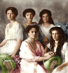Empress Alexandra(born Alix of Hesse) with her daughters Grand Duchesses Olga, Tatiana, Maria & Anastasia, redo of these old ones: [link] [lin. Alix with her girlies Tsar Nicolas, Anastasia Romanov, Tatiana Romanov, Romanov Sisters, Familia Romanov, Grand Duchess Olga, House Of Romanov, Alexandra Feodorovna, Imperial Russia