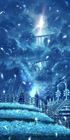 Winter, snowing, castle, girl, light; Anime Scenery