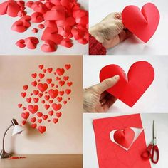 Decoração com corações de papel.