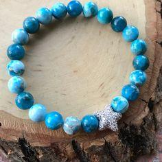 Silverskylight Jewelry - Boho blue hemimorphite gems cz star bracelet