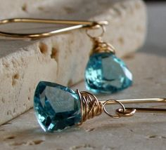 Blue Topaz Earrings AAA Gemstone Jewelry, Gold Filled, Clip On Available. $67.00, via Etsy.