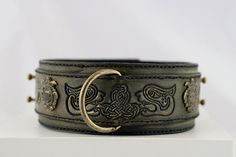 Olive green leather dog collar, for large breed dogs