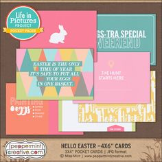 LIP: Hello Easter 4x6 Journal Cards - Peppermint Creative #pocket #projectlife