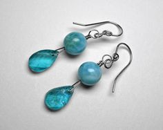 Larimar and Apatite Earrings in Silver by JReneau on Etsy
