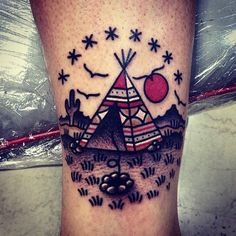 "Teepee native american tattoo with birds and a fireplace, setting sun & stars. Can one thing mean ""home"" and ""freedom"" at the same time?"