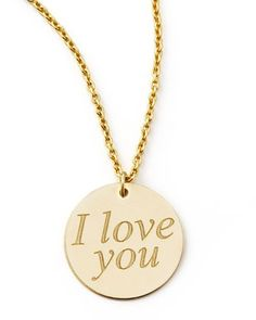 Yellow Gold I Love You Necklace by Roberto Coin at Neiman Marcus.