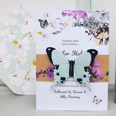 Butterfly Invitation suite, Midsummer collection in White/Brown Kraft, from £4.50, eagleeyedbride,com #butterfly #floral