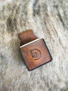 Leather Shooting Pouch for 12 Gauge - Handmade Rustic Leather Horse Shell Bag 12 Gauge Shell Pouch Braided Leather Edge Horse Head Design
