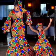 African Mother and daughter dress/African attire /African   Etsy Ankara Long Gown Styles, Beautiful Ankara Styles, Ankara Dress Styles, Kente Styles, Beautiful Outfits, African Dresses For Women, African Attire, African Wear, Girls Dresses