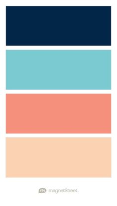 Navy, Turquoise, Coral, and Peach Wedding Color Palette - custom color palette created at MagnetStreet.com
