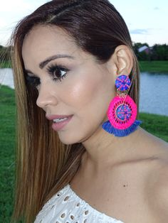 Pink Tassel Earrings Chandelier Earrings Long Earrings