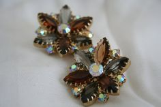 Juliana Style Vintage Rhinestone Daisy Earrings by exquisitevintaj, $40.00
